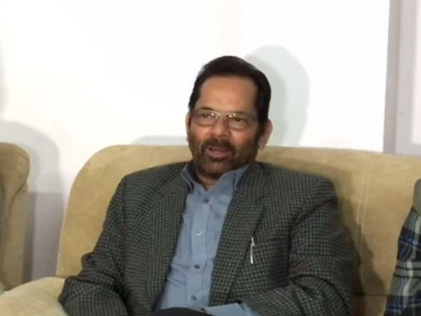 BJP leader and Union Minister of Minority Affairs Mukhtar Abbas Naqvi speaking to reporters on Sunday. Photo/ANI
