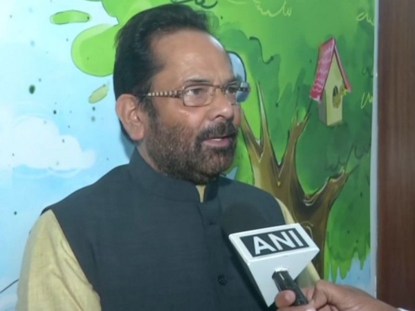Union Minority Affairs Minister Mukhtar Abbas Naqvi speaking to ANI in New Delhi. Photo/ANI