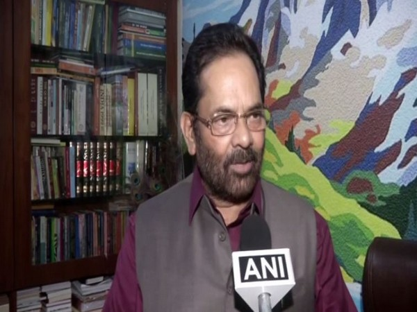 Union Minister of Minority Affairs Mukhtar Abbas Naqvi speaking to ANI on Tuesday. Photo/ANI