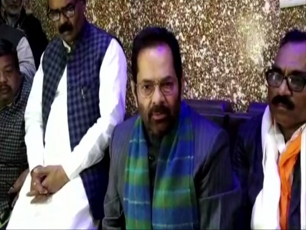 Union Minorities Affairs Minister Mukhtar Abbas Naqvi talking to reporters in Rampur, UP on Sunday. Photo/ANI