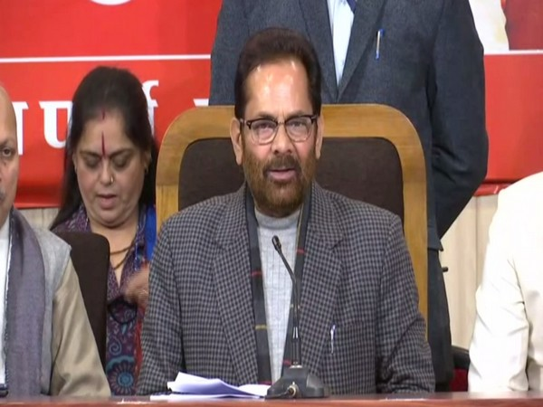Union Minority Affairs Minister Mukhtar Abbas Naqvi addressing a press conference in Lucknow, UP on Friday. Photo/ANI