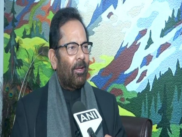 BJP leader Mukhtar Abbas Naqvi speaking to ANI on Tuesday in New Delhi. Photo/ANI