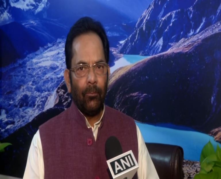 Union Minority Affairs Minister Mukhtar Abbas Naqvi speaking to ANI in New Delhi on Wednesday. Photo/ANI