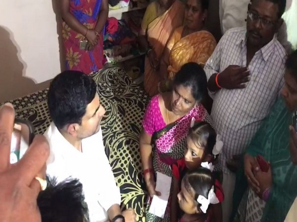 TDP General Secretary with the family of the deceased on Thursday.