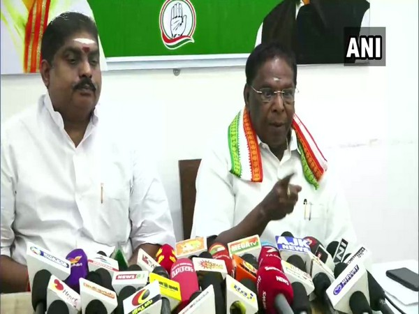 Chief Minister V Narayanasamy speaking to reporters on Thursday. Photo/ANI