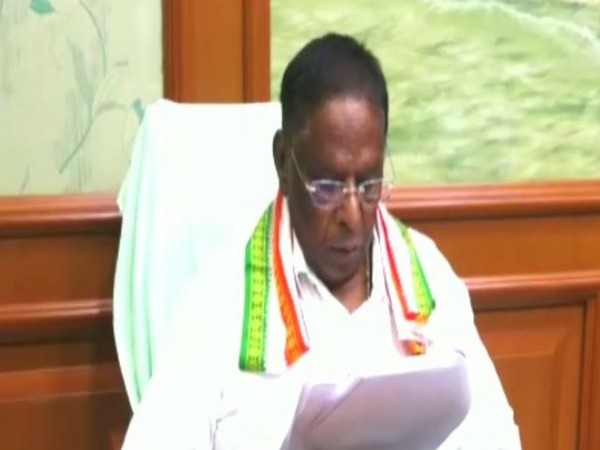 Puducherry Chief Minister V Narayanasamy at the Cabinet meeting in Puducherry. Photo/ANI