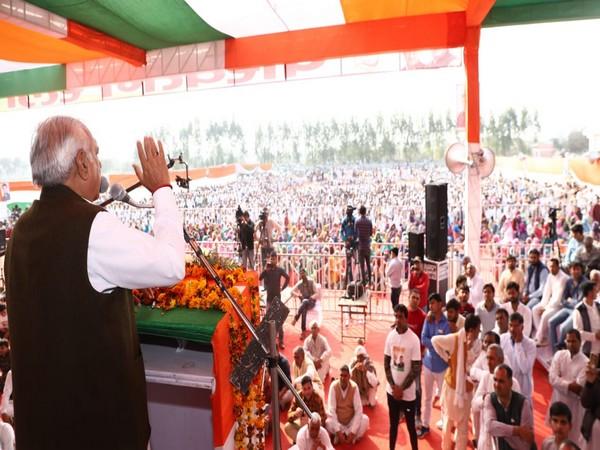Former Haryana Chief Minister Bhupinder Singh Hooda speaking at a public meeting in Narnaud, Haryana, on Sunday. Photo/ANI