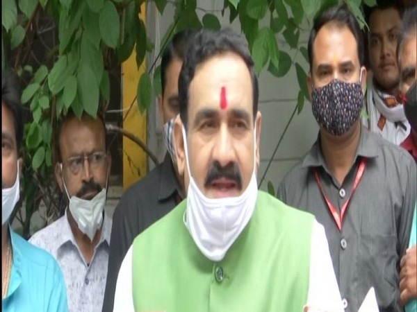 Madhya Pradesh Home Minister Narottam Mishra speaking to the reporters on Wednesday. (Photo/ANI)