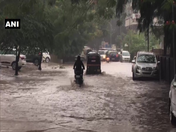 A visual of waterlogging in Nashik, Maharashtra here on Monday. (Photo/ANI)