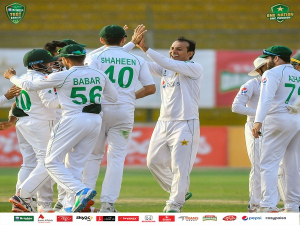 Pakistan spinner Nauman Ali celebrates after taking a wicket (Photo/ Pakistan Cricket Twitter)