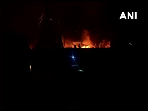Visual from fire which broke out in Navi Mumbai on Thursday. Photo/ANI