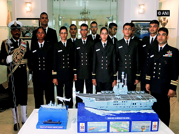 Indian Navy officials with the model of Navy tableau for the Republic Day parade in New Delhi on Wednesday.