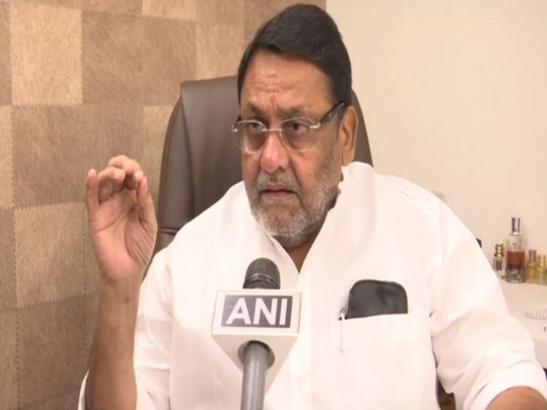 NCP spokesperson Nawab Malik speaking to ANI in Mumbai on Wednesday. (Photo/ANI)