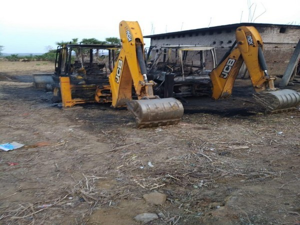 Road construction vehicle torched by Naxals in Bihar's Gaya on Thursday. (ANI photo)