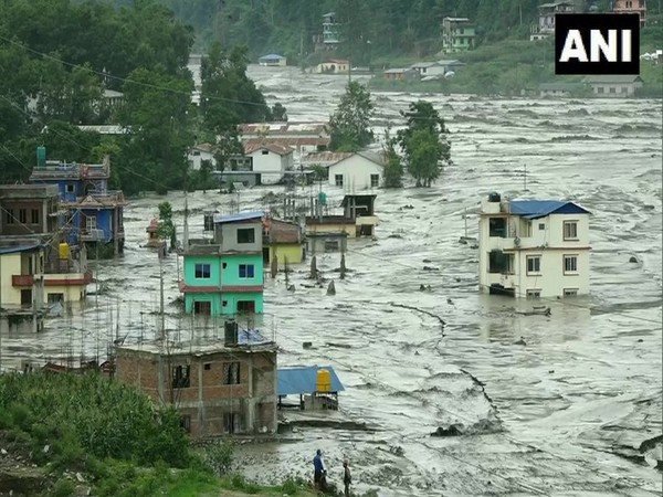 Flood in Sindhupalchok district. (Photo/ANI)