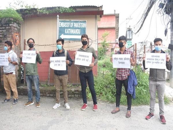 Members of Hindu Civic Society protesting against Pakistan in Kathmandu. Photo/ANI