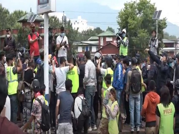 Hundreds of youths protested in Nepal against government response to COVID-19. Photo/ANI