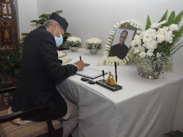 Nepal Foreign Minister signing the condolence book for former Indian President Pranab Mukherjee at Indian Embassy in Kathmandu on Friday. (Photo source: Nepal Foreign Ministry Twitter)