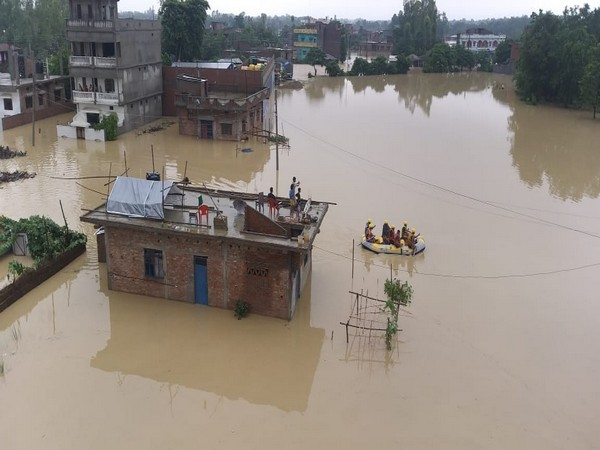 A view of a village in Nepal affected by floods.
