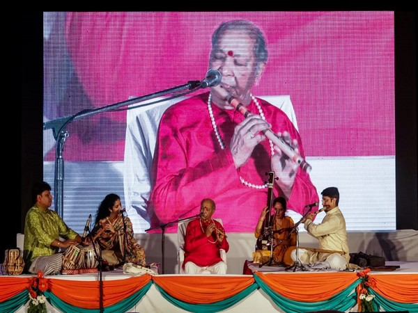 Flautist Pandit Hariprasad Chaurasia performing at the Indian Embassy in Kathmandu to celebrate 73rd Independence Day