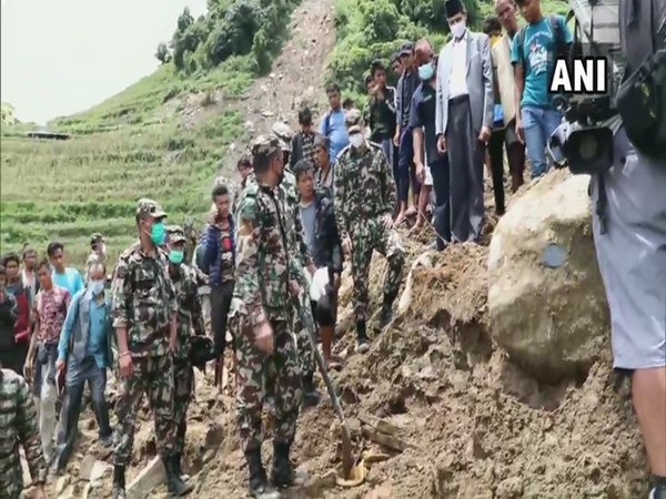 Search and rescue operation is underway in Nepal's Sindhupalchowk district after landslide killed 18 people. [Photo/ANI]