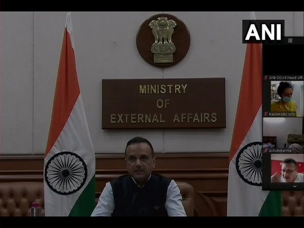 Ministry of External Affairs spokesperson Anurag Srivastava speaking during online press briefing on Thursday. Photo/ANI