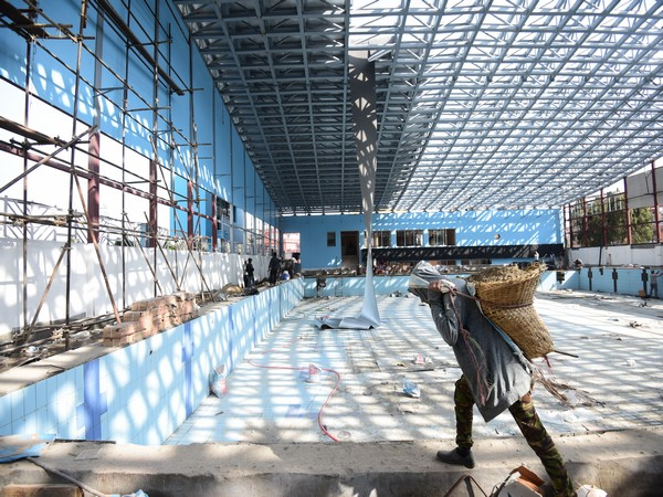 Construction work underway at Dasarath International Stadium in Kathmandu