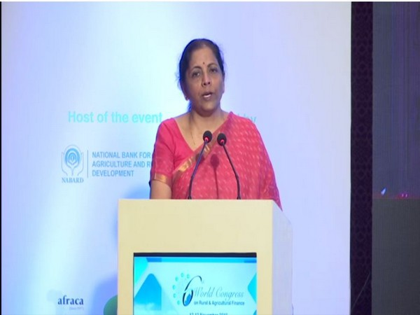 Finance Minister Nirmala Sitharaman at 6th World Congress on Rural & Agriculture Finance in New Delhi. [Photo/ANI]