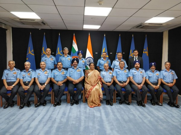 Defence Minister Nirmala Sitharaman with IAF Commanders in New Delhi on Thursday.