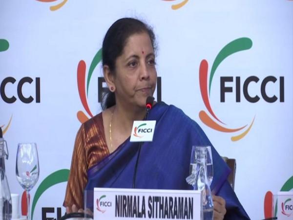 Union Finance Minister Nirmala Sitharaman speaking at FICCI event in New Delhi on Monday. Photo/ANI