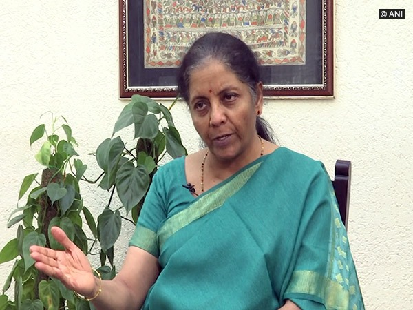 Finance Minister Nirmala Sitharaman during an interview with ANI in New Delhi on Wednesday. Photo/ANI