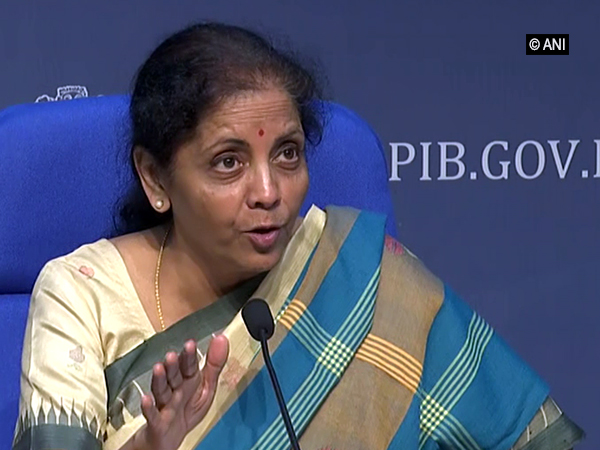 Finance Minister Nirmala Sitharaman addressing a press conference in New Delhi on Friday. Photo/ANI