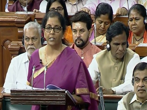 Finance Minister Nirmala Sitharaman while presenting the Union Budget in Parliament on Friday. (Pic courtesy: LS TV)