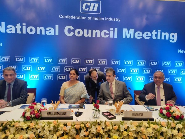 Kotak seated with Sitharaman at the CII National Council Meeting in New Delhi on Friday