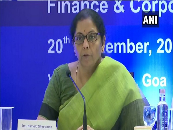 Nirmala Sitharaman addressing media in Panaji, Goa