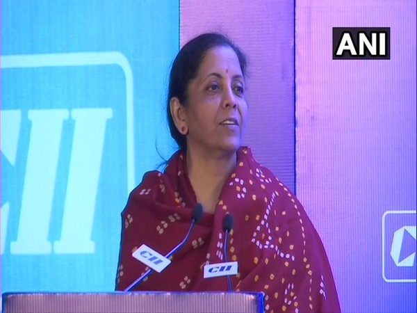 Finance Minister Nirmala Sitharaman speaking at an event in New Delhi on Tuesday. Photo/ANI