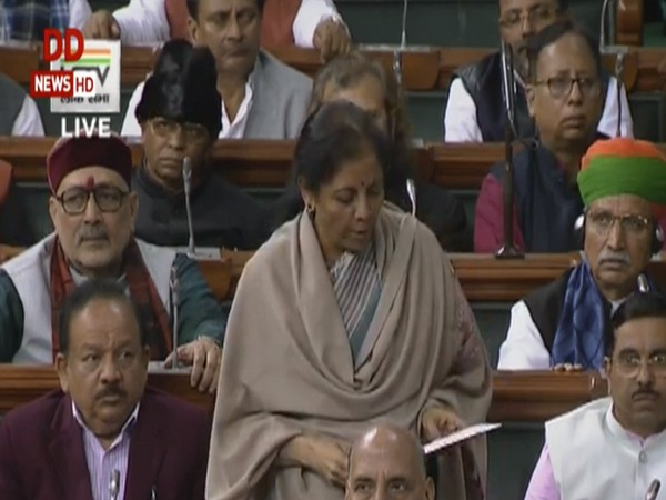 Finance Minister Nirmala Sitharaman tabling the Economic Survey 2019-20 in Parliament on Friday. Photo/LSTV