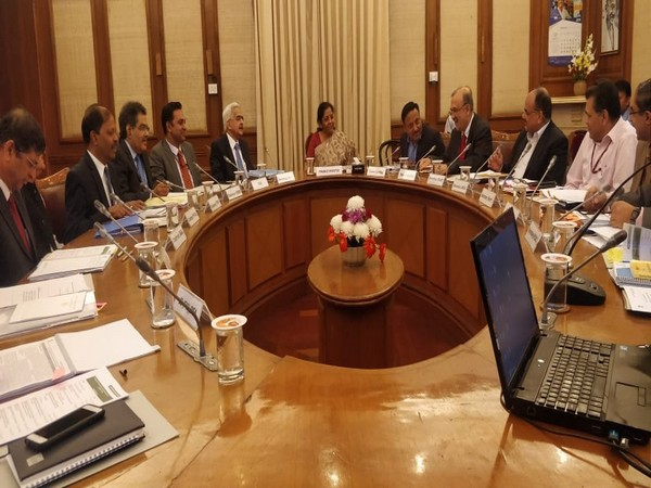 Union Finance Minister Nirmala Sitharaman at the FSDC council meeting with other officials in New Delhi on Thursday. Photo/ANI