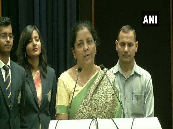 Union Finance Minister Nirmala Sitharaman speaking at the event in Faridabad on Friday. Photo/ANI