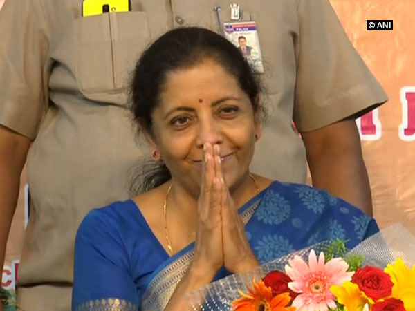 Defence Minister Nirmala Sitharaman during a Vijay Sankalp event in Hyderabad on Sunday. Photo/ANI