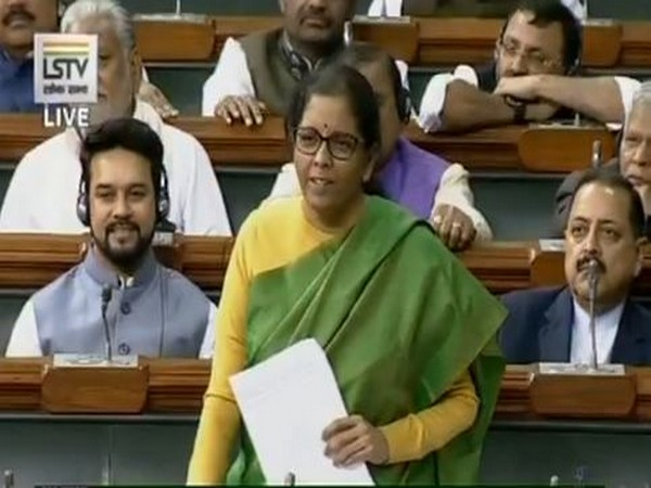 Union Finance Minister Nirmala Sitharaman speaking in Parliament on Wednesday. Photo/LSTV