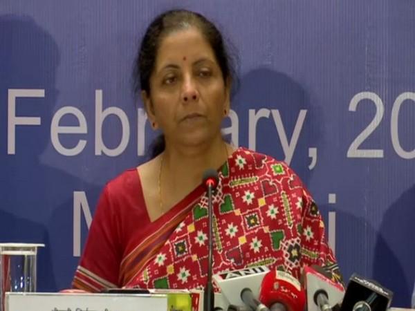 Finance Minister Nirmala Sitharaman addressing a press conference in Mumbai. Photo/ANI