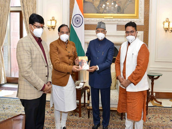 """Union Education Minister Ramesh Pokhriyal Nishank on Saturday presented the first copy of his book """"Pioneer of Humanity: Maharshi Arvind"""" to President Ram Nath Kovind at the Rashtrapati Bhavan."""
