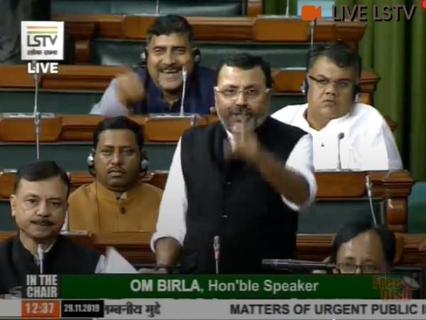 BJP MP Nishikant Dubey speaking at Lok Sabha on Friday.