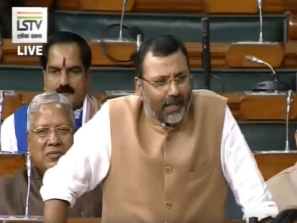 BJP MP Nishikant Dubey at the Lok Sabha in New Delhi on Monday. Photo/LSTV