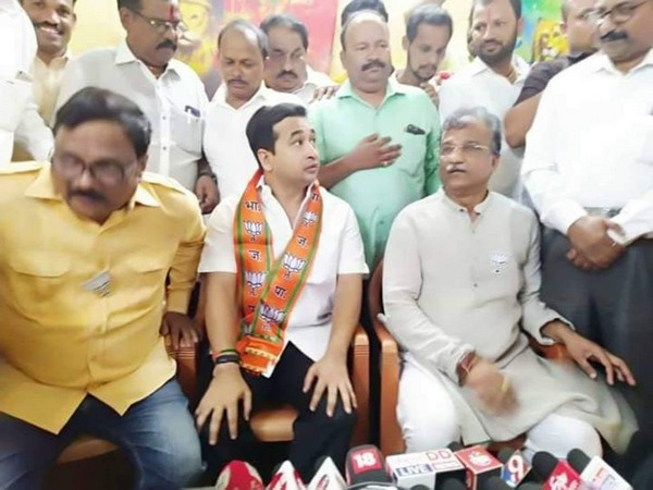 Nitesh Rane sitting with BJP leaders after joining the party [Photo/ANI]
