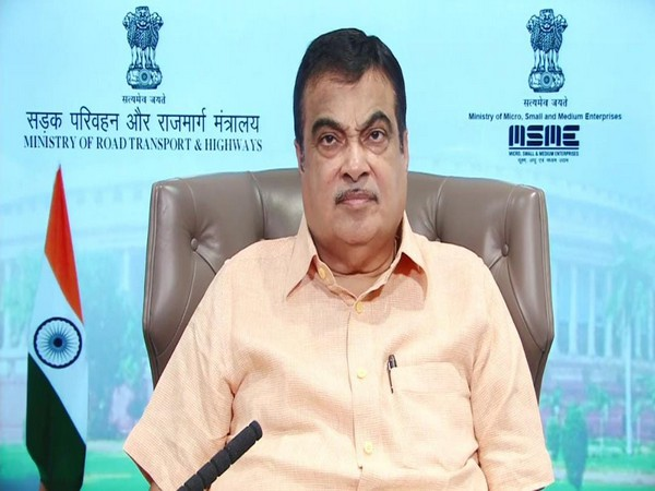 Union Minister Nitin Gadkari addressing the event via video conferencing on Saturday. Photo/ANI