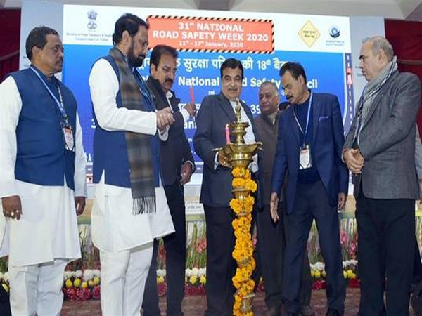 Nitin Gadkari lighting lamps at the 18th Meeting of National Road Safety Council and 39th Meeting of Transport Development Council in New Delhi (Picture Courtesy - PIB)