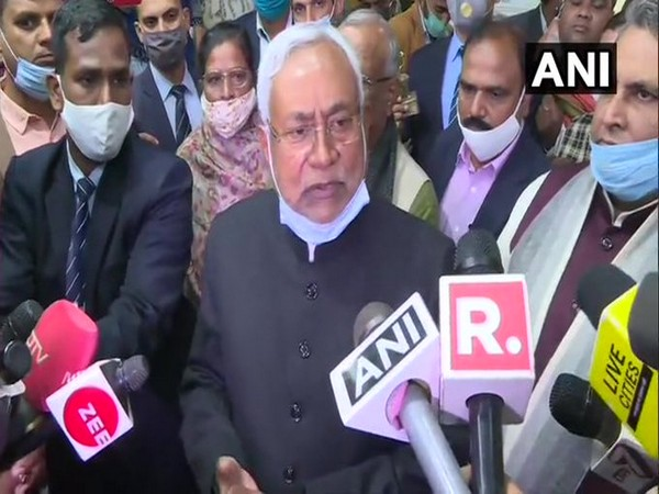 Bihar Chief Minister Nitish Kumar talking to reporters on Tuesday. (Photo/ANI)