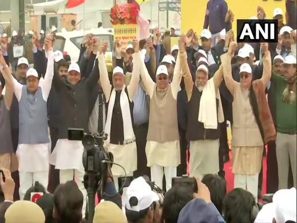Bihar CM Nitish Kumar, Deputy CM Sushil Modi in Gandhi Maidan, Patna on Sunday. Photo/ANI